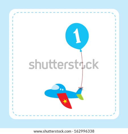 Airplane First Birthday Card With Balloon