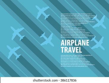 airplane flat design background vector