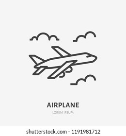 Airplane flat line icon. Vector sign of plane flying in clouds, aircraft travel outline logo.