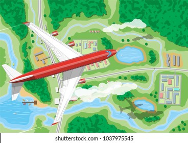 Airplane flies above land with houses with car, boats, trees, road, river, forest, lake and clouds. Air journey or vacation concept. Village aerial view. Vector illustration in flat style