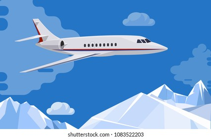 Airplane flies  above the mountains and clouds .Travel background