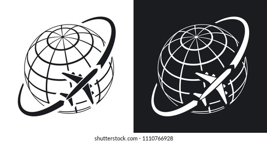 Airplane flies around the earth. Simple vector icon on black and white background