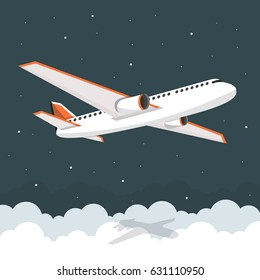 Airplane flies in the sky. Side view. Airliner. White airplane. Flat vector banner.