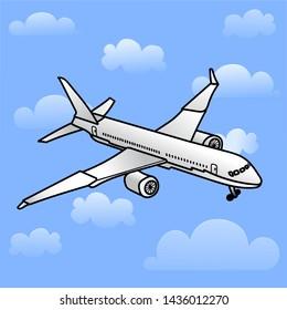 Airplane flight in the air. Blue background, white plane. Civil aviation.