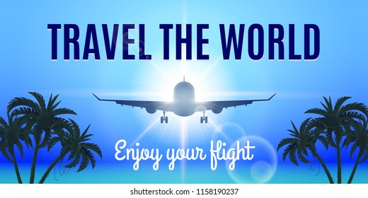 Airplane Flight To Paradise. Concept Image with Airliner Over the Sea at Sunset and Palm Trees Silhouette. Travel The World. Enjoy Your Flight