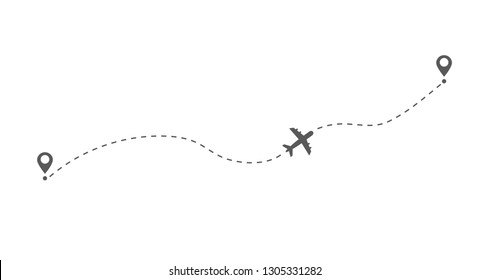 Airplane flight route. Flight tourism route path. Starting pin to destination point. Travel symbol. Vector illustration