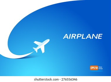 airplane flight tickets air fly travel takeoff silhouette element blue background