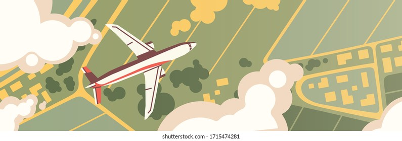 Airplane flight top view. Panoramic landscape with fields, meadows and plane flying in clouds. Birds eye view scenery. Colorful horizontal banner. Vector illustration in flat cartoon style