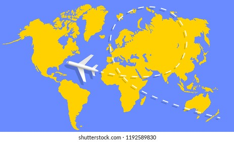 Airplane and flight trajectory on the world map. Vector illustration.