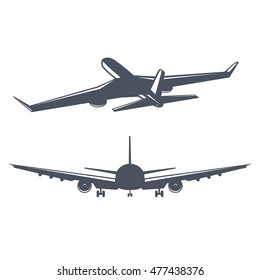 Airplane flight vintage vector illustration. logo design for passenger aircraft flying in sky in old monochrome style. isolated on white background