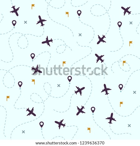 9a839735f81a Airplane Flights Pattern Plane Travel Avia Stock Vector (Royalty ...