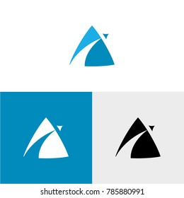 Airplane fly blue triangle vector logo symbol - standard, inverse and black monochrome version.