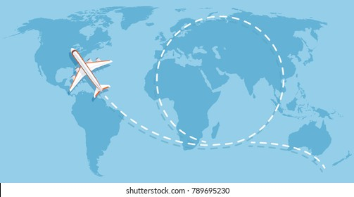 Airplane flying above world map. Aircraft travelling flat vector concept. Flight travel world map illustration