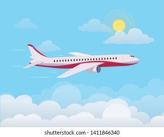 Airplane flying up against the sky , flying through clouds in the blue sky. Flat design style. Vector illustration