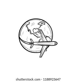 Airplane flying around the world hand drawn outline doodle icon. Business and tourism, airplane journey concept. Vector sketch illustration for print, web, mobile and infographics on white background.