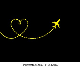 A Airplane flying in a dark black sky leaving behind a love shaped smoke trail