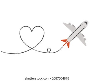 airplane flying with heart