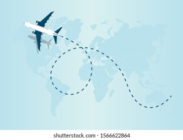 Airplane flying and leave a blue dashed trace line. Vector Illustration EPS10