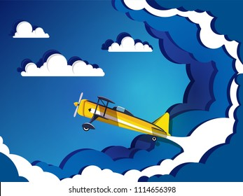 Airplane flying on sky with clouds. Paper art  concept.