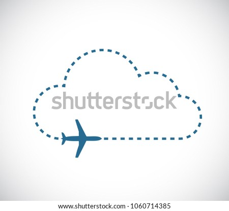 airplane flying over a dash line cloud Illustrator. design graphic. isolated over white