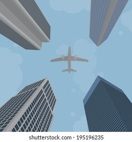 Airplane flying over skyscrapers. EPS10.
