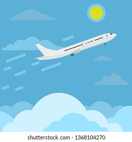 Airplane flying in sky above clouds higher and higher to top. Travel concept ads design. Flat color vector illustration.