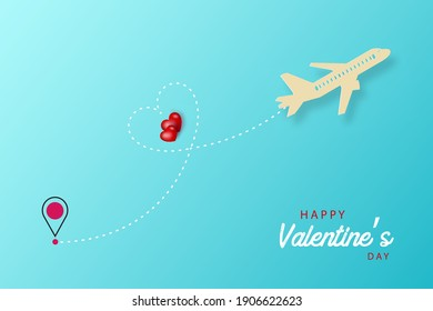 airplane flying in the sky with a heart. valentines day card with hearts. Vector EPS 10.