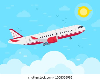 Airplane flying in sky. Jet plane fly in clouds, airplanes travel and vacation aircraft. Flight plane, airplane trip to airport or airline transportation. Aerial flat vector illustration