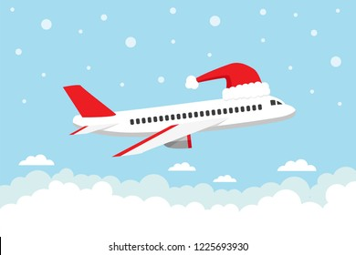 Airplane flying in the sky with Sant's hat. Travel on Christmas holiday. Vector illustration.