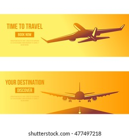 Airplane flying at sunset vector illustration. flat banners of passenger planes in flight and landing aircrafts in old vintage style. Travel to destinations