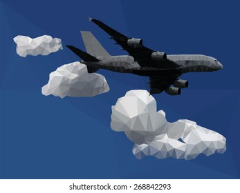 An airplane flying through a blue sky with clouds, low poly vector illustration.