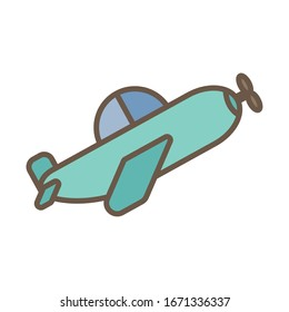 airplane flying toy block style icon vector illustration design
