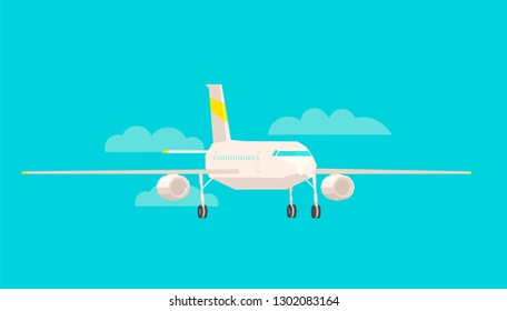 Airplane front view, on a blue background. Flat vector colorful illustration.