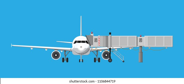 Airplane front view. Passenger or commercial jet with aero bridge or jetway. Telescopic ladder for airport. Ramp, gate, aerobridge. Airport terminal services. Vector illustration in flat style