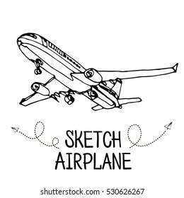 Airplane hand draw sketch.