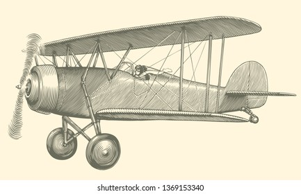 Airplane. Hand drawn engraving. Editable vector vintage illustration. Isolated on light background. 8 EPS