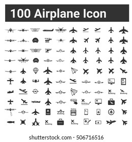 Airplane Icon, Figther Plnae, Jet Missile helicopter , 100 Vector illustration icon set