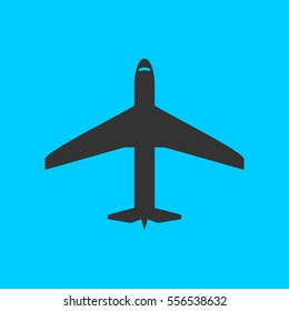 Airplane icon flat. Simple vector black pictogram on blue background