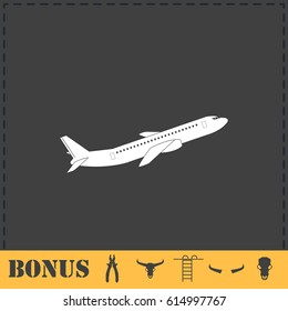 Airplane icon flat. Simple vector symbol and bonus icon