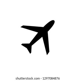 Airplane Icon In Flat Style Vector For App, UI, Websites. Black Icon Vector Illustration.