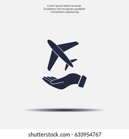 Airplane Icon in hand - vector icon