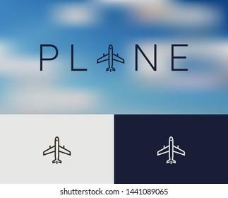 Airplane Icon Logo, monoline concept