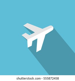 Airplane icon on blue background. Flat design. Long shadow. Vector illustration
