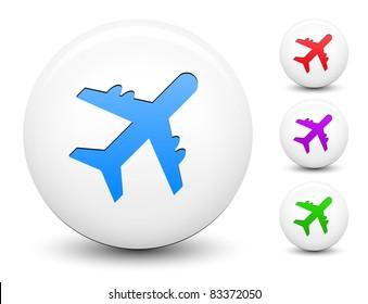 Airplane Icon on Round White Button Collection Original Illustration