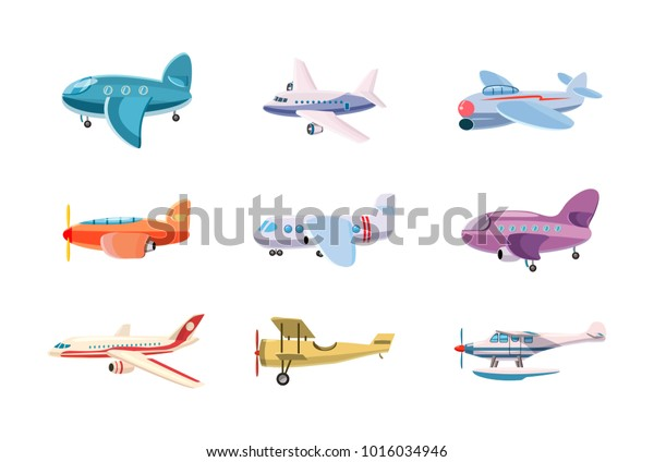 Airplane icon set. Cartoon set of airplane vector icons for web design isolated on white background
