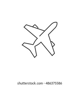 Airplane icon in thin outline style. Aviation transportation take-off travel passenger