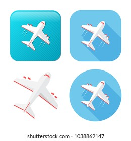 Airplane icon - travel icon - fly flight symbol - vector plane