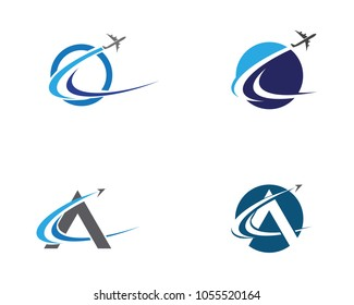 Airplane icon vector illustration design Logo Template