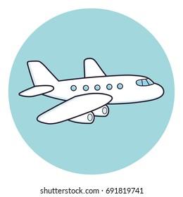 Airplane icon. White airplane on light blue round background.