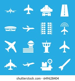 Airplane icons set. set of 16 airplane filled icons such as plane, runway, plane seats, airport, airport tower, cargo plane back view, lugagge weight